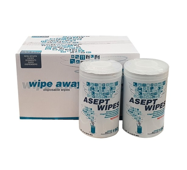Case of 6 Asept Surface and Hand Sanitising Wipes