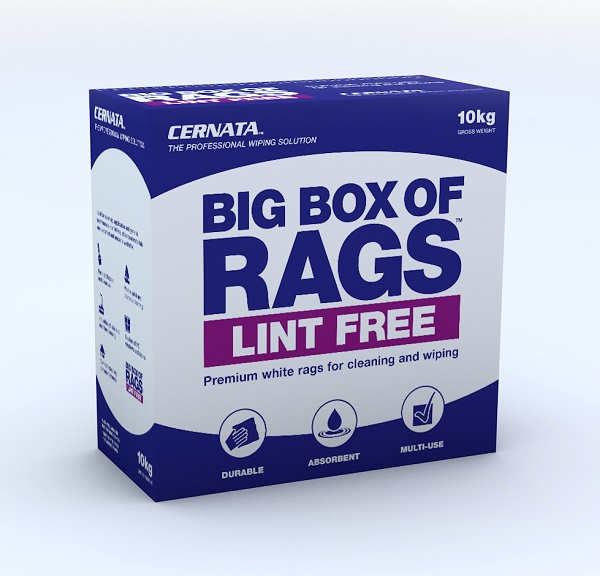 CERNATA White Lint Free Rag Supplied in a Carry Handle Box 10kg
