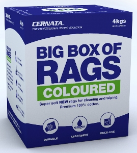 coloured soft new 100 cotton rags for cleaning and wiping - Box Of Rags