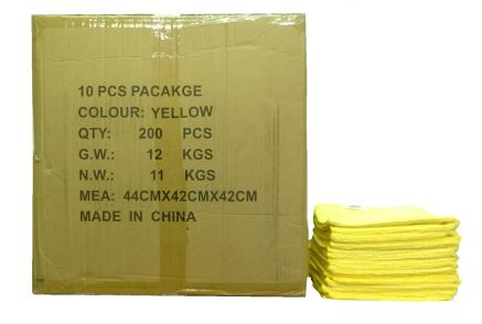 MAXIGLEAM Yellow Microfibre Cloths Case of 200 Cloths 40x40cms