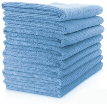 MAXIGLEAM Blue Microfibre Cloths Pack of 50 Cloths 40x40cms