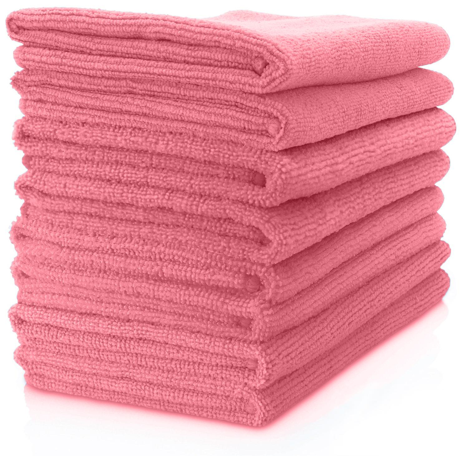 MAXIGLEAM Red/Pink Microfibre Cloths Pack of 50 Cloths 40x40cms